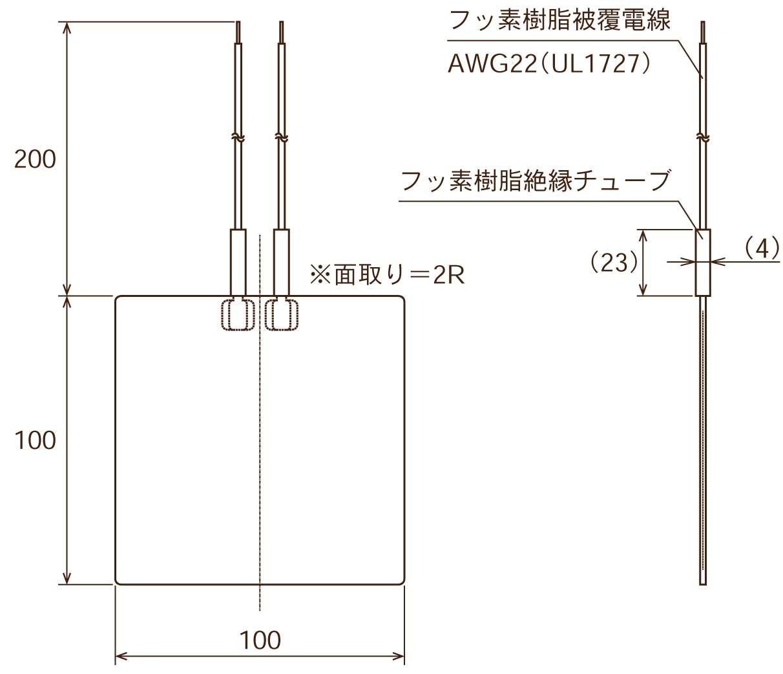 ポリイミドヒーター 形状図 内部リード