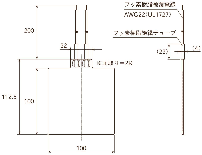 ポリイミドヒーター 形状図 外部リード